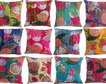 Indian Ikat Handmade Decorative Cushion Cover Cotton Kantha Cushion Cover Pillowcase For Room Decor Cushion Pillow Cover