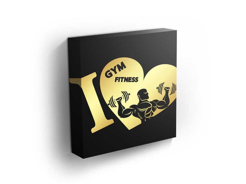 I Love The Gym And Fitness Symbol of Gold Color Gym Wall Art Heart Decor Sport Posters Black Background Motivational Wall Decor