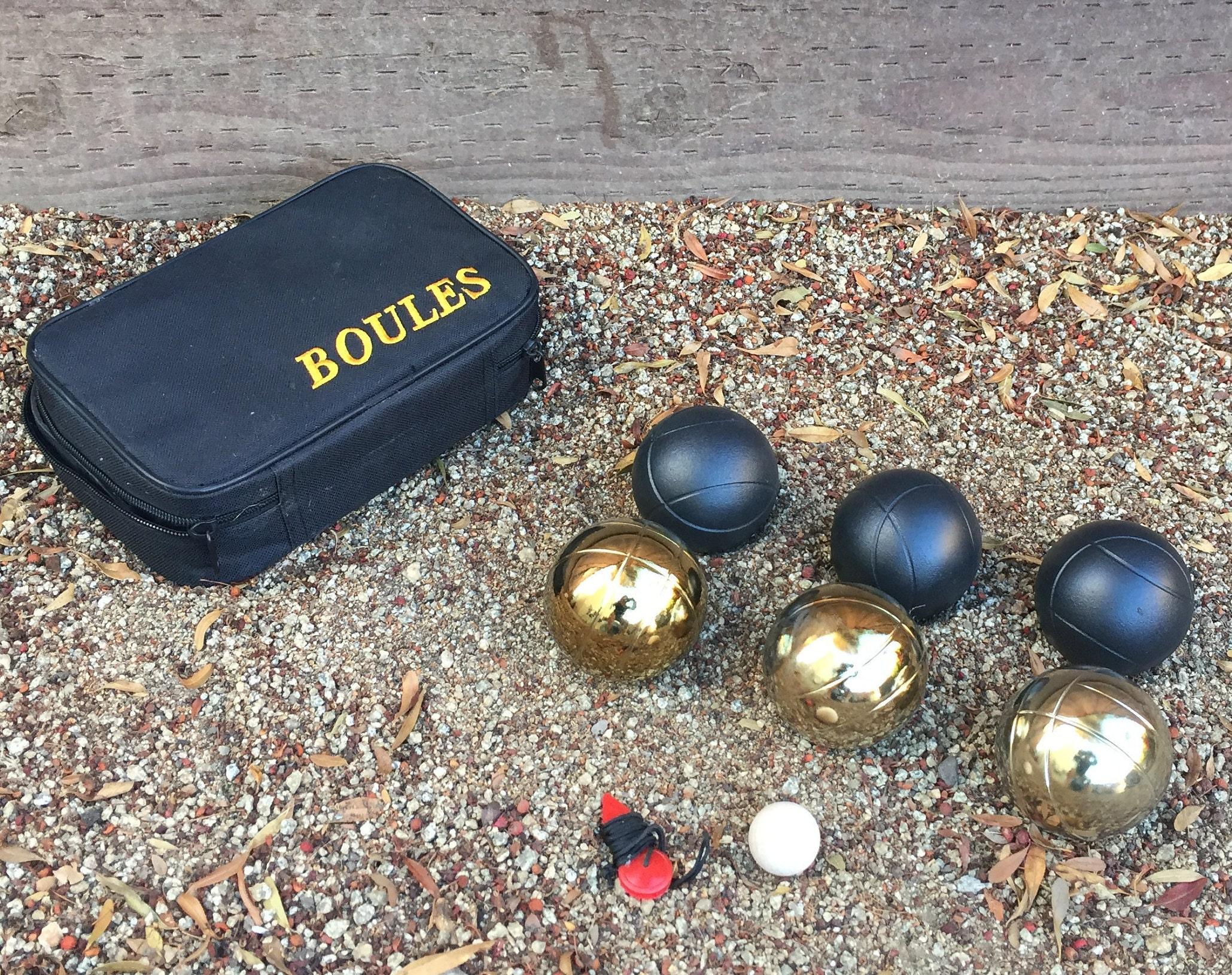 6 ball 73mm Metal Boules Petanque set 3 blue balls and 3 red balls