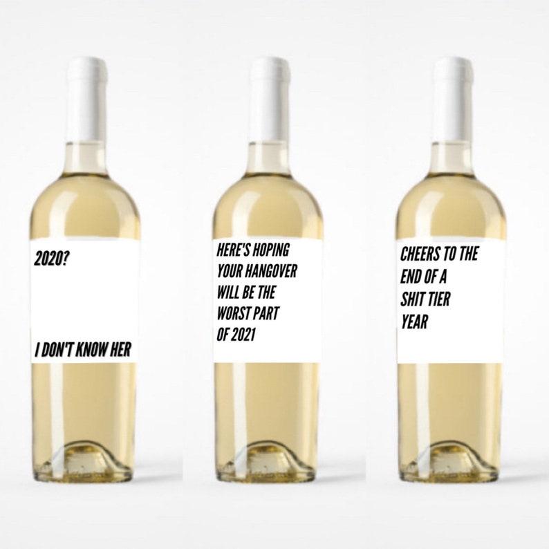 Pandemic New Year Bundle Sarcastic Wine Labels 2020 Humor New Years Downloadable Printable
