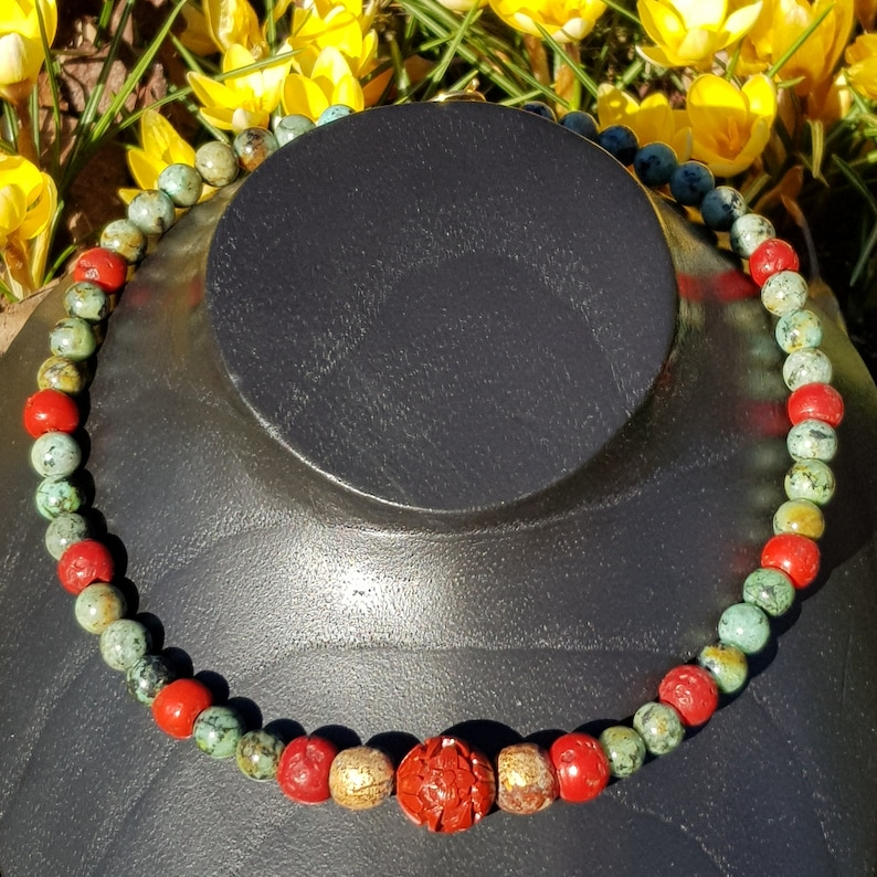 Buddha beads decorated in clay with gold leaf Turquoise and glass beads from Nepal Necklace Buddha: old Chinese Cinnabar pearl afrik
