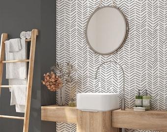 Minimalist Removable Wallpaper. Chevron Wallpaper. Modern Wallpaper. Peel and stick Wallpaper. Self-adhesive Wallpaper
