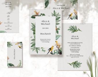 Modern Boho wedding invitations, Save the Dates, Menues, Nametags…