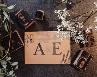 Handmade wedding invitations made with original 1950ies wood printing letters