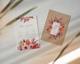 Modern floral wedding invitations postcard size 50 pc.