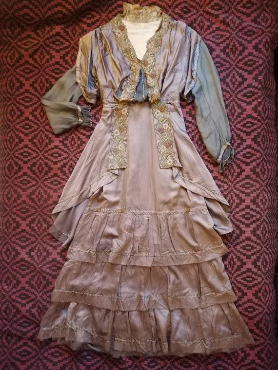 Antique Mauve Silk Dress 1900s 1910s edwardian gow