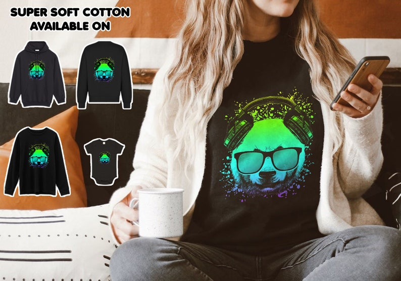 Trippy DJ Bear T shirt Ravers Techno House  Psychedelic Clothing Gift Ideas For Men Women Boy Girl Birthday Party 2RB19MARD35