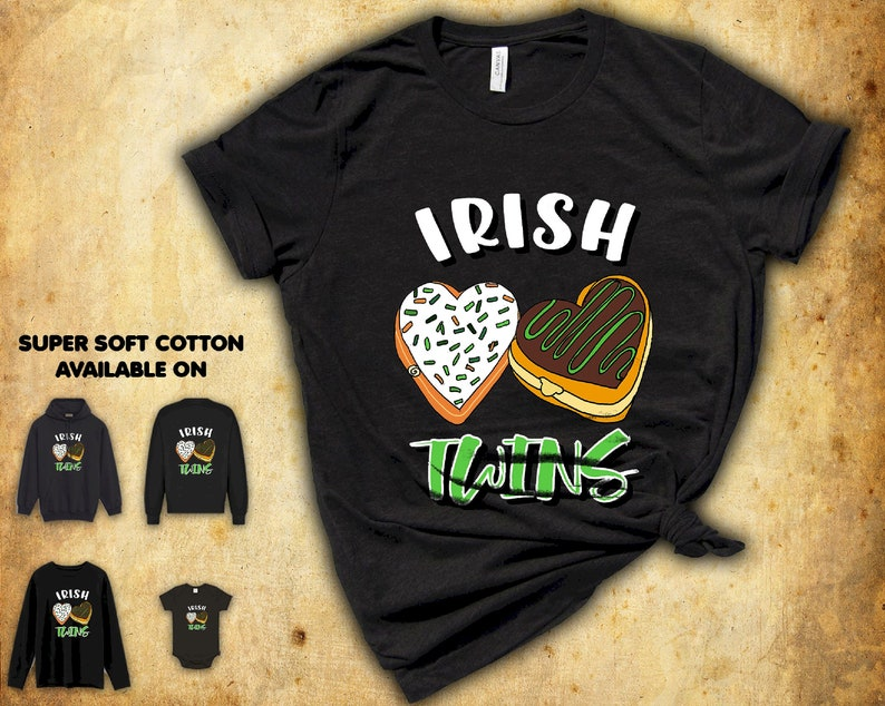 Irish Twins Donut Tshirt Gift Ideas For Lover Men Women Birthday Party Friend Teens Matching Squad St Patrick/'s Day