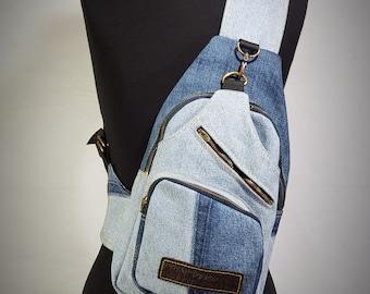 Cross-body multi-functional denim backpack