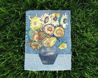 Denim wall décor - Sunflowers