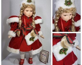 Christmas vintage porcelain doll in original box