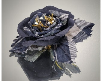 Fabric flower brooch with three leaves