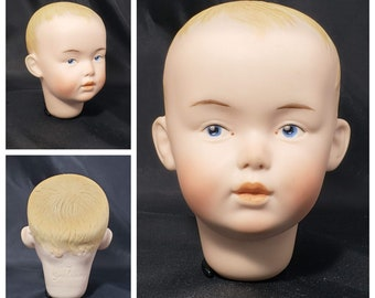 Handpainted Vintage Biscuit Reproduction Boy Doll Head (Germany 7)