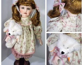 Large vintage porcelain doll with bear after doll hospital