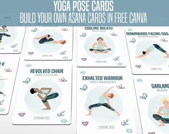 \u2022 Yoga Teacher Training \u2022 Anatomically Correct \u2022 Flashcards Flash Cards Editable PDF \u2022 Educational 87 Yoga Poses Printable Cards Full Set