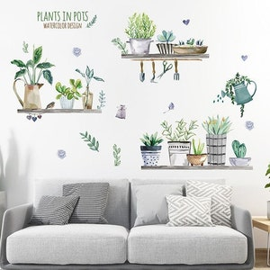 DIY Creative Mural Art Decoration for Living Room Kitchen Nursery Baby Bedroom Fresh Green Plants Potted Wall Decals Sticker Green Plants Cactus