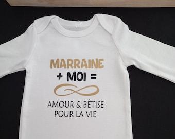 """Bodie Body personnalisé """"Marraine ou le mot de votre choix + Moi = Infini Amour & Bêtise pour la vie"""""""