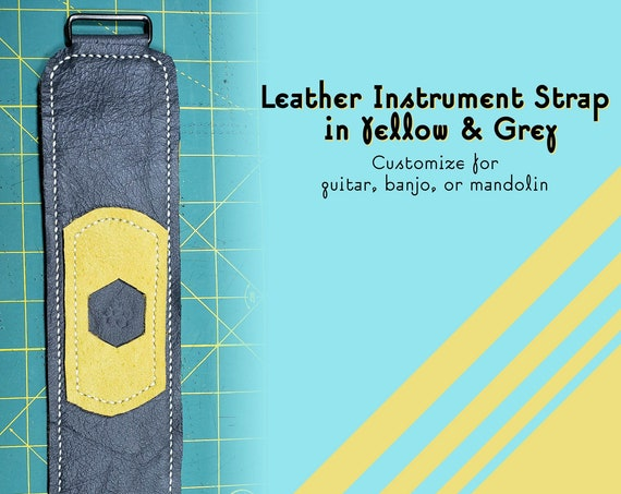 Grey & Yellow Custom Handmade Leather Instrument Strap