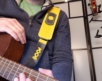 Yellow & Grey Custom Handmade Leather Instrument Strap