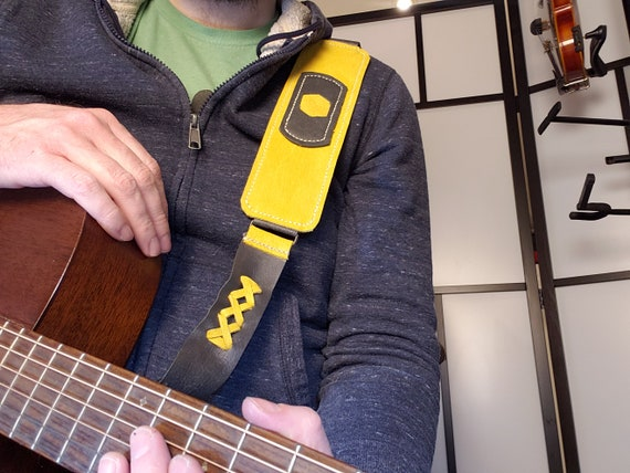Yellow & Grey Custom Handmade Leather Instrument Strap