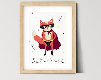 Set of 3 You Are So Strong Fox Superhero Wrapping Paper Sheets