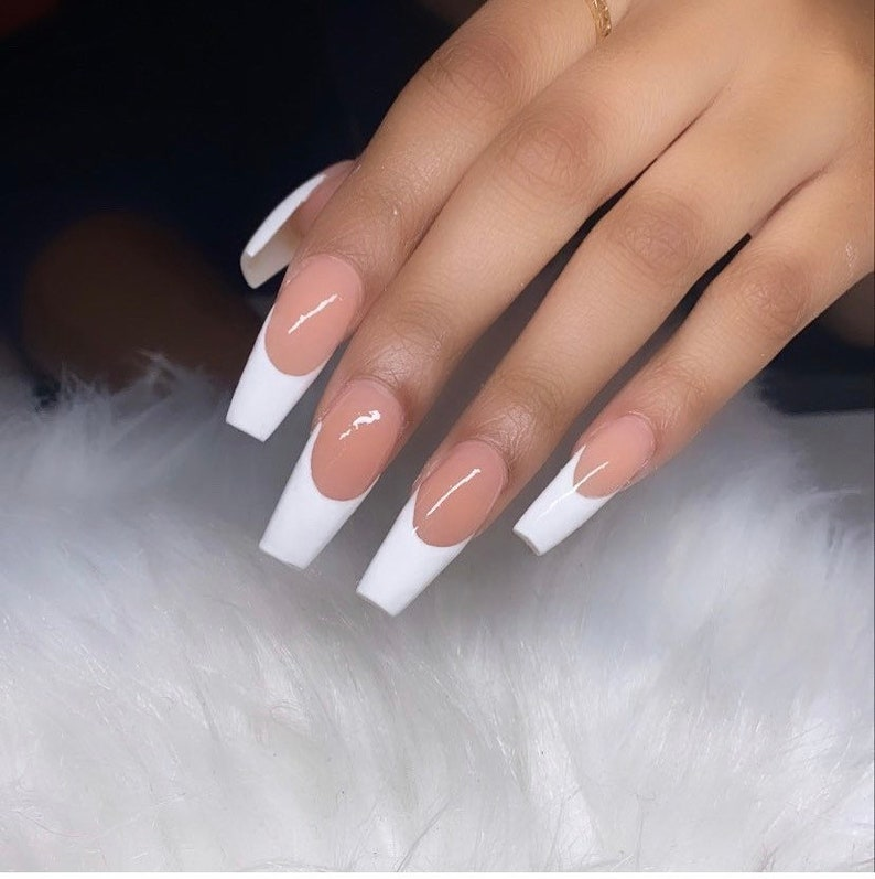 Long Coffin French white nude Matte Press On Nails image 0