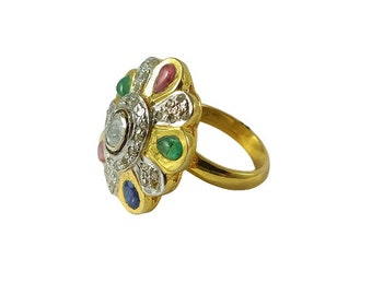 Gold Ring Polki Diamond Rings Semi Precious Gemstone /& Uncut Diamond Fancy Engagement And Anniversary Ring Special for You