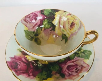 /& Plate Triplet Set~ Roses Vintage Original JAPAN  Cup Sauce