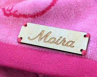 Personalized Wooden Name Tag | Back to School | Sew On Wooden Label