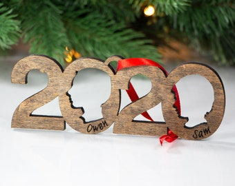 2020 Duo Personalized Silhouette Ornaments | Custom Christmas Ornaments | Holiday Decorations