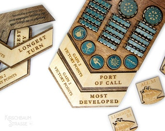 Wooden Victory Chevrons | Custom Wood Board Game | Laser Engraved | Board Game Add-On