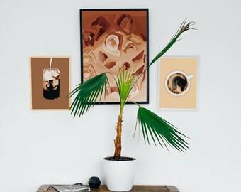 Coffee Trio Art/Coffee Print/ Coffee Wall Art/ Coffee Digital Art/ Kitchen Artwork/Coffee Bar Art/ Coffee/ Mason Jar Art/MasonJar Coffee Art