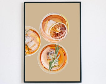 Cocktail Illustration/ Aperol Spritz/ Cocktail Artwork/Orange Cocktail/ Alcohol Artwork/ Kitchen Artwork/ Custom Illustration
