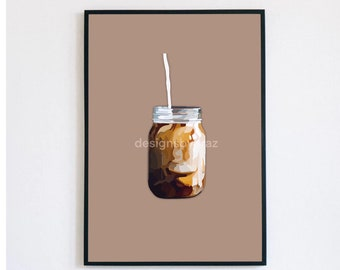 Mason Jar Coffee Print/ Mason Jar Coffee/ Coffee Artwork/ Coffee Graphic Art/ Aesthetic Coffee Art/ Coffee Print/Coffee Design / Coffee Art