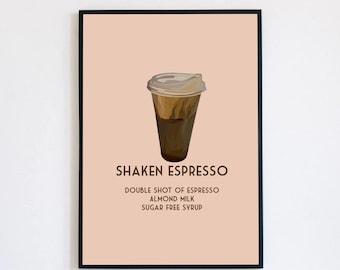 Custom Coffee Recipe Illustration/Coffee Wall Art/ Coffee Art/Coffee Illustration/Coffee Artwork/ Coffee Graphic/ Iced Coffee Artwork/Custom