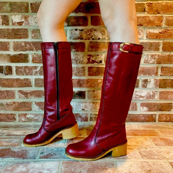 1970s Etienne Aigner Red Leather Boots