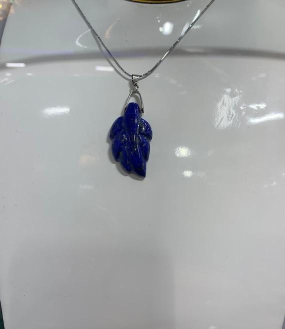 Lapis Lazuli Autumn Leaf Pendant