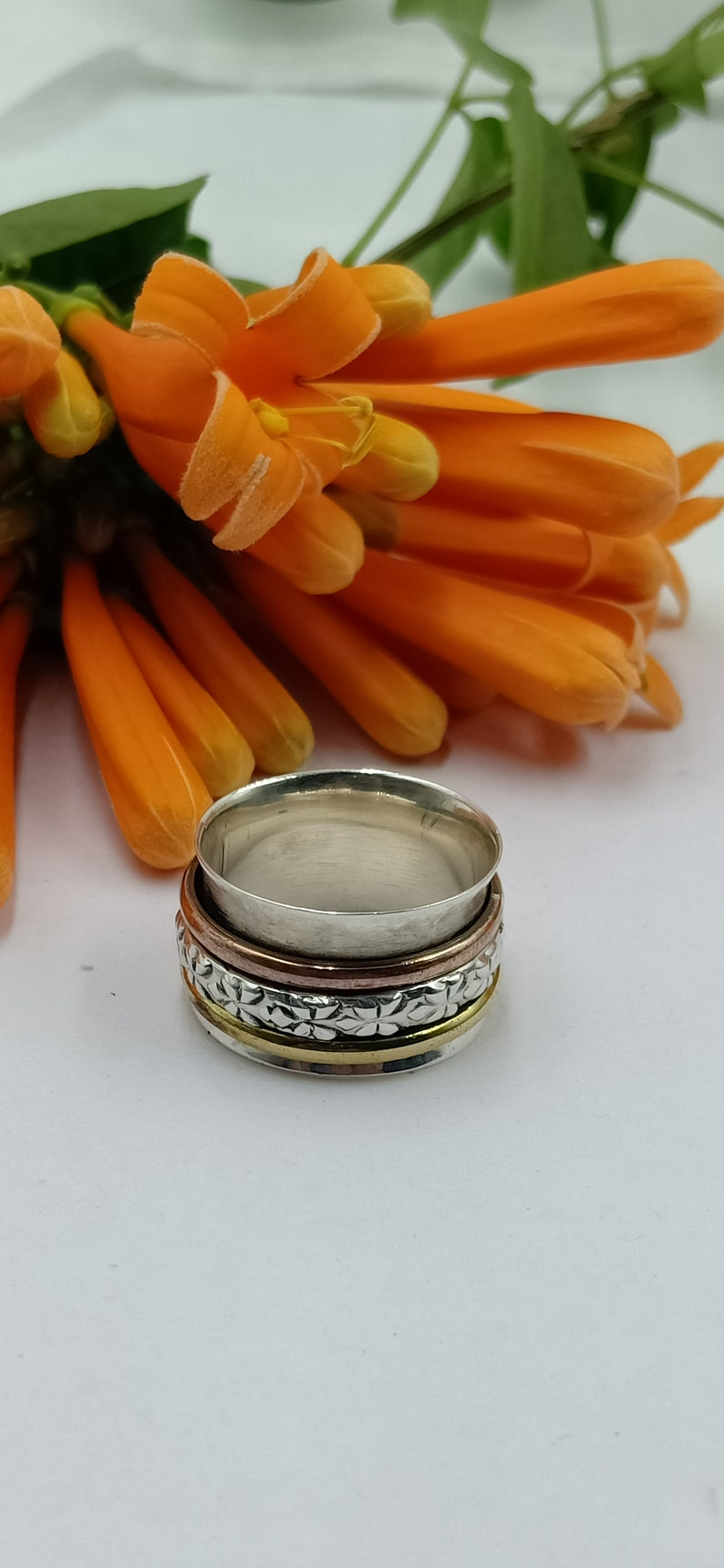 Handmade Three Tone Designer Carved Band Spinner Ring 925 Sterling Silver /& Brass Spinner Ring Valentine/'s Day Gift Idea Jewelry