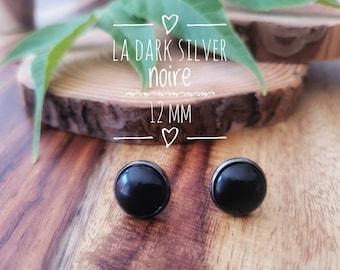 Earrings The dark silver black 12 mm