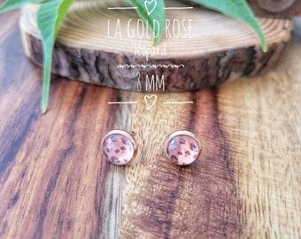 Earrings The gold pink leopard 8 mm