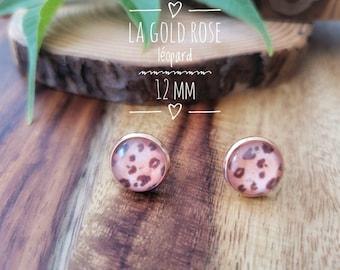 Earrings The gold pink leopard 12 mm