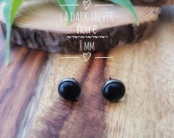 Earrings The dark silver black 8 mm