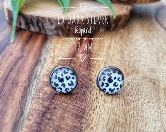 Earrings The dark silver leopard 12mm