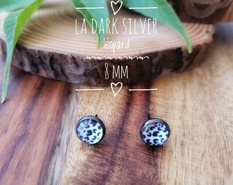 Earrings The dark silver leopard 8mm