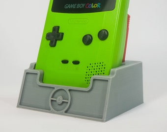 Pokemon Game Boy Colour Stand With A Cartridge Holder - 3D Printed Display Stand
