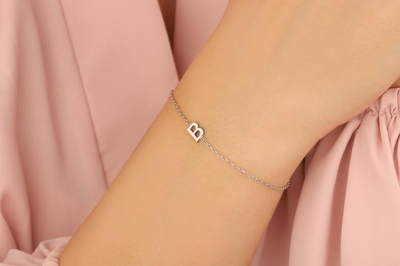 Mother/'s Day Gifts 14K Name Bracelet 14K Letter Initial Bracelet Personalized Name Bracelet 14K Initial Bracelet Personalized Gifts