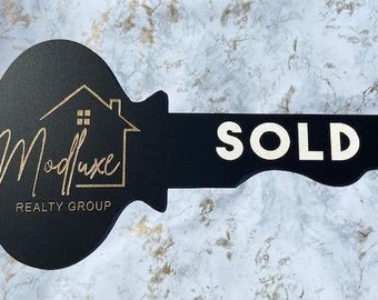 Custom Key Shape Real Estate Closing Sign