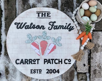 Personalized Farmhouse Vintage Style Easter Round or Door Hanger. Custom made to order.