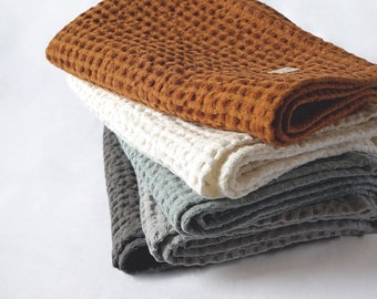 Linen Waffle Towel. Hand Towel. Bath Towel. Bath Sheet. Luxurious Absorbent Towel