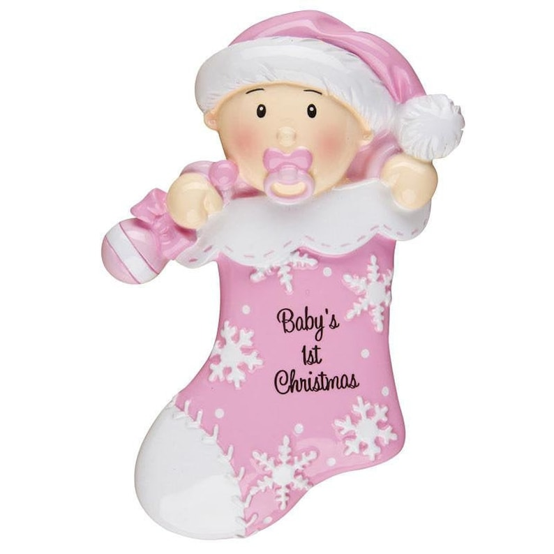 Pink Baby First Stocking Personalized Christmas Ornament